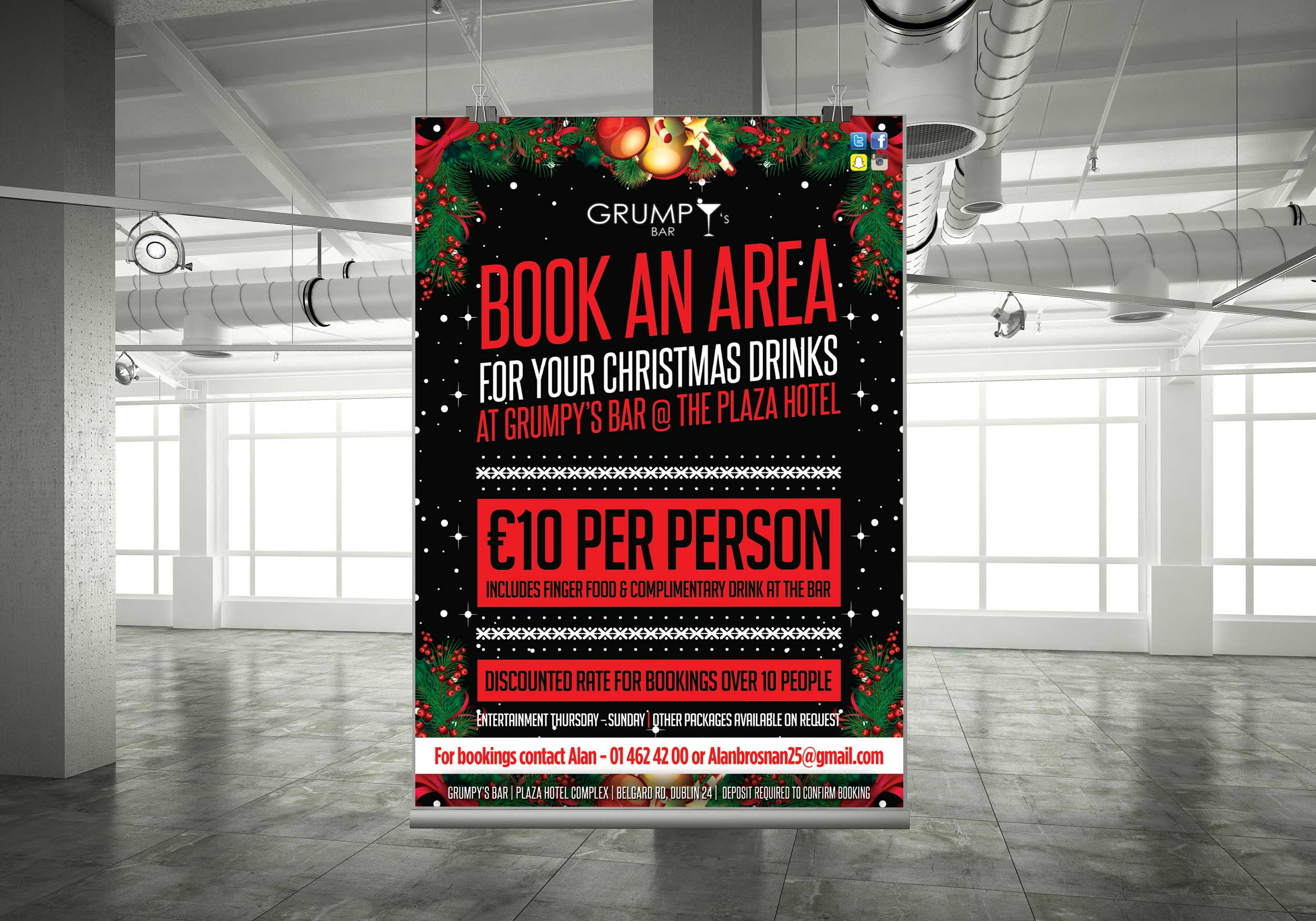 Poster design dublin - Christmas Party Poster Design For Dublin Pubs Grumpys Tallaght Digital Marketing Consultant Graphic Design Studio Web Design Dublin Printers Dublin